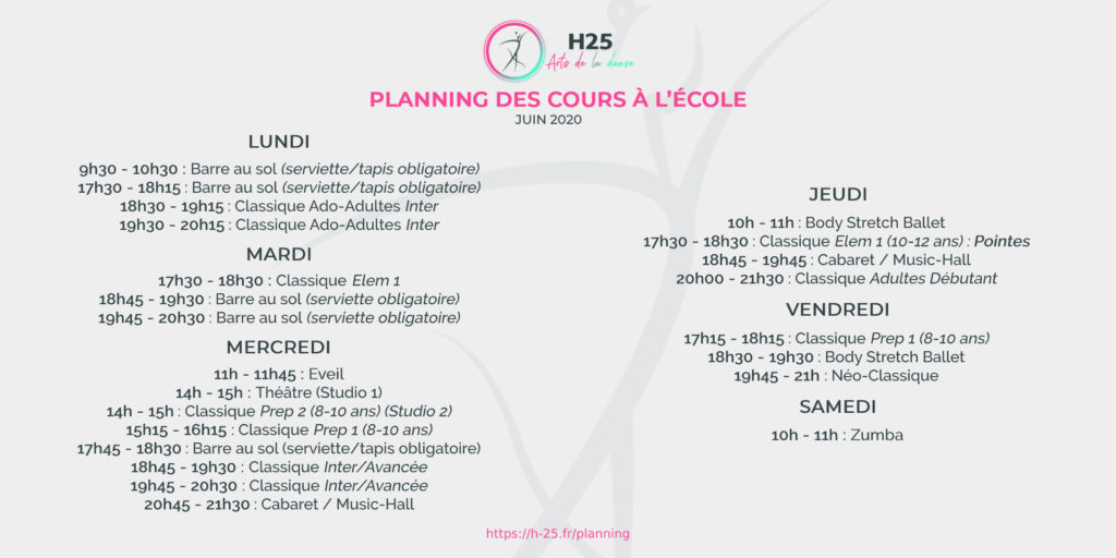 Planning Hebdo cours de dans H25 Juin 2020